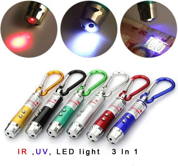 Mini Flashlight :UV Flashlight Key Chain 395nm +Red laser+White Light 3 in1