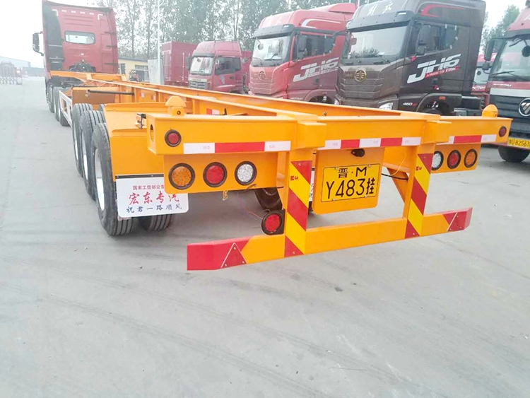 3 axle skeleton/ flat bed container semi trailer
