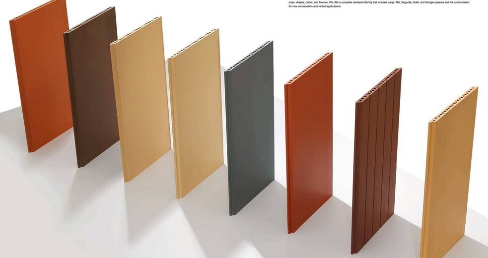 terracotta panels louvers baquette split tiles klinker bricks
