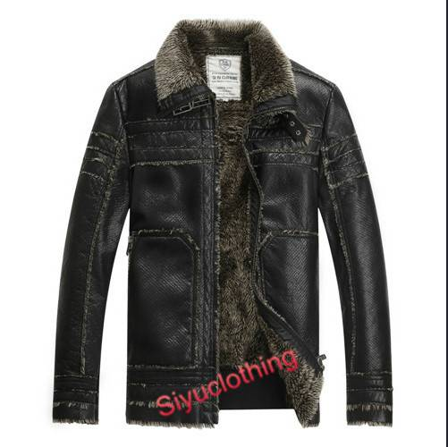 2015 Men Leather Lapel Casual Windproof Latest Design PU Winter Jacket (F-1632)
