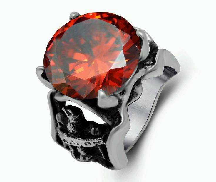 Wholesale Biker Rings with Big Red CZ
