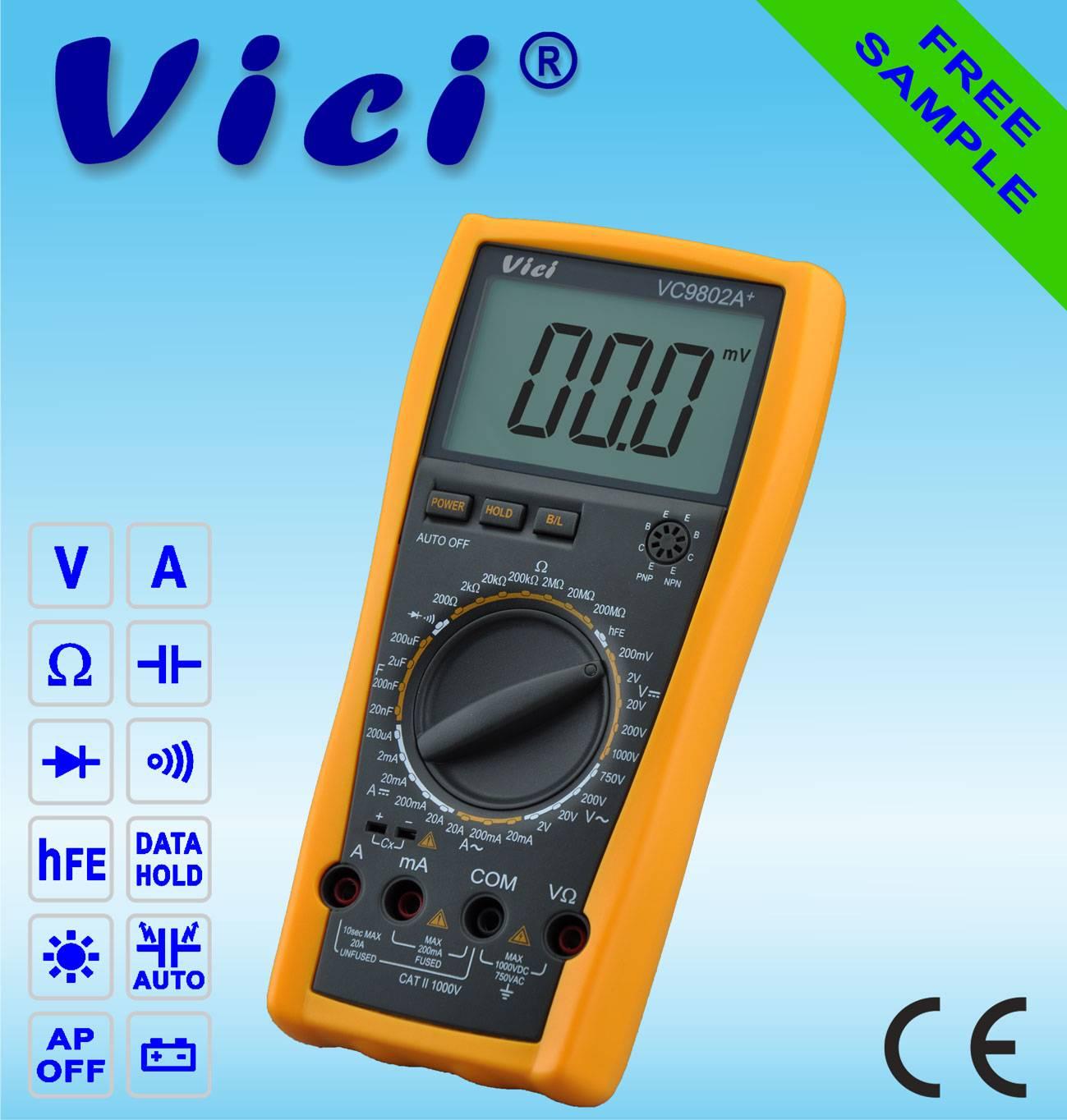 VC9802A+  3 1/2  Portable digital multimeter