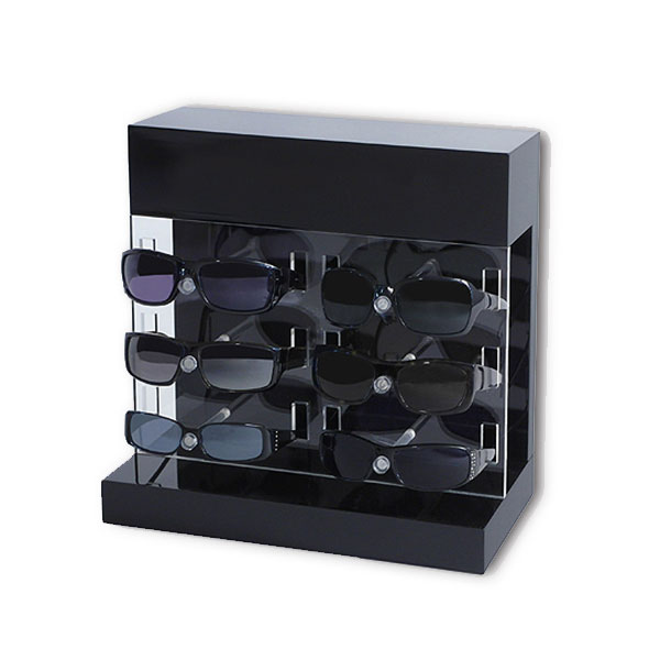 Most of the glasses display stand design are: rotating display stand , ladder display stand, L-type