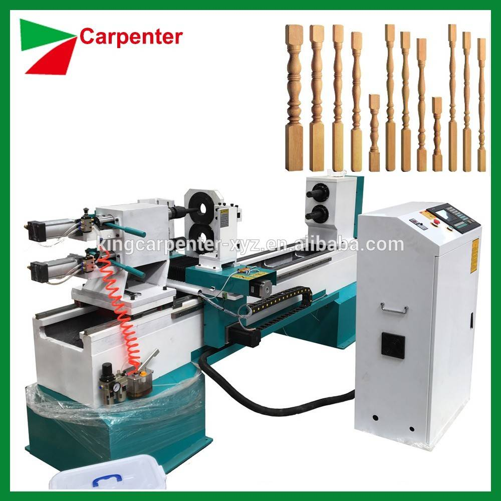 Automatic CNC wood lathe machine with carving function KC1530-S with single spindle double knives
