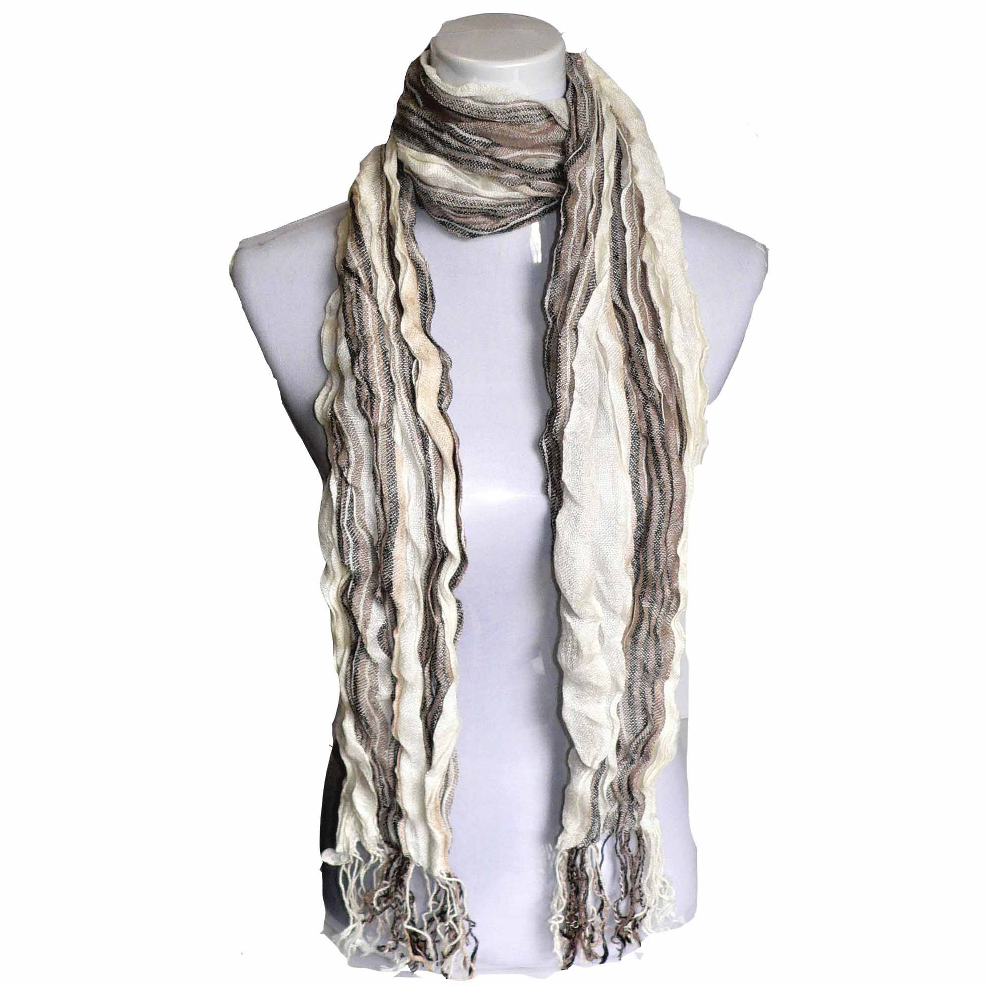 Dual color crinkled scarf