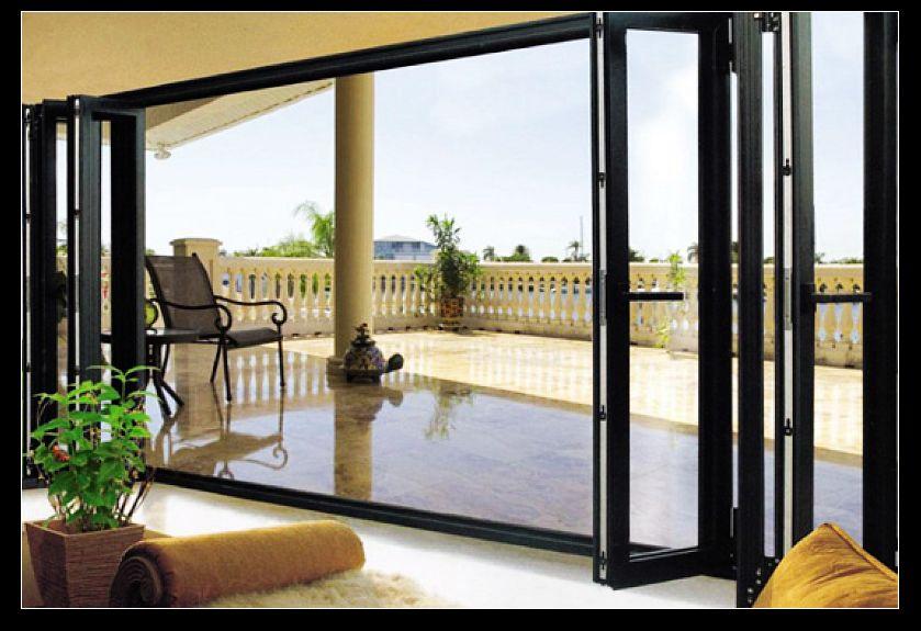 Double glazed aluminum folding doors for living room