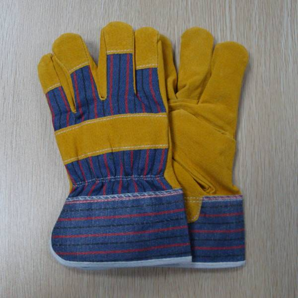 """Men's Golden Yellow 10.5"""" Pig Split Leather with Cotton Safety Working Gloves"""