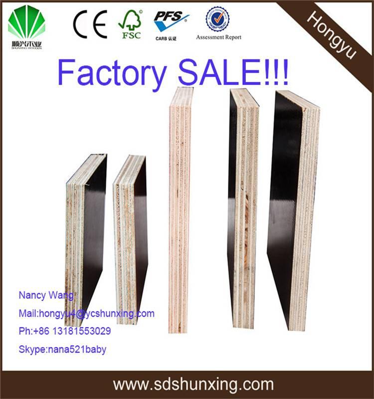 1220x2440mm, 1250x2500mm WBP melamine 18mm building film faced plywood