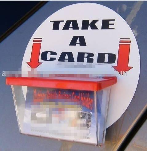 Car window business card holder
