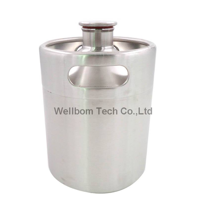 Stainless mini keg growler,2L 64OZ thread mouth keg wine pot with thread Lid