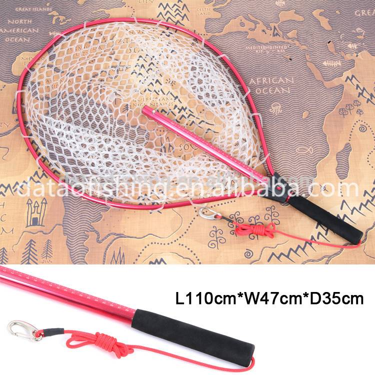 Fly fishing tackle, aluminum folding fishing landing net, rubber handle