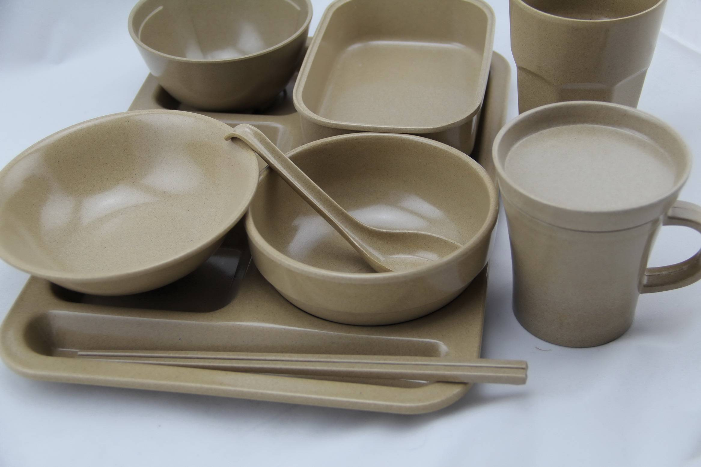 Eco friendly tableware from rice husks