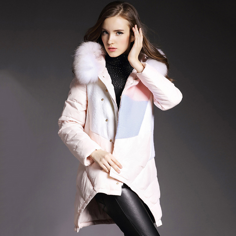 Fur collar women down jacket