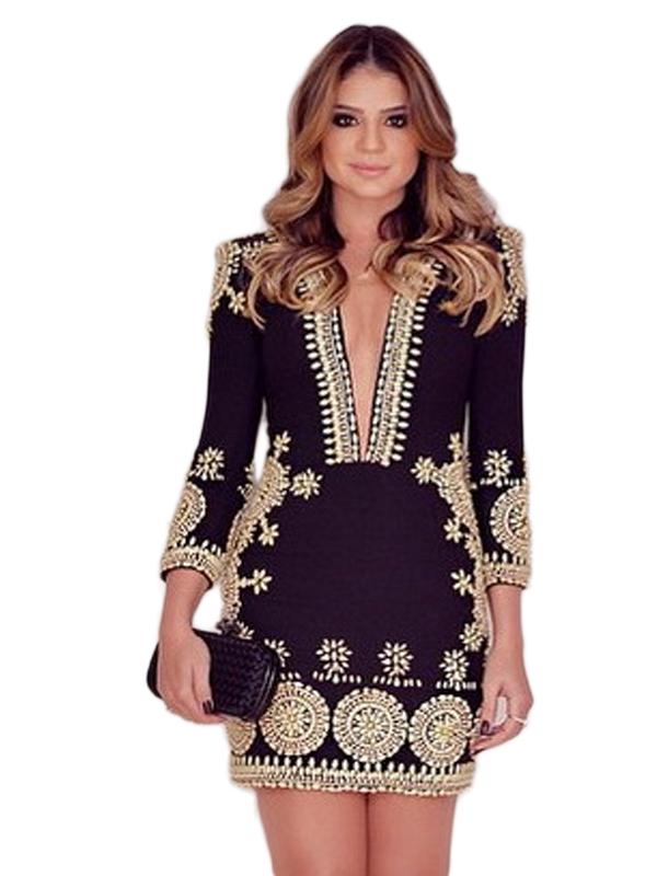 2017 New Arrival Fashion Women Sexy Deep V-Neck Long Sleeve Mini Dress WT72998