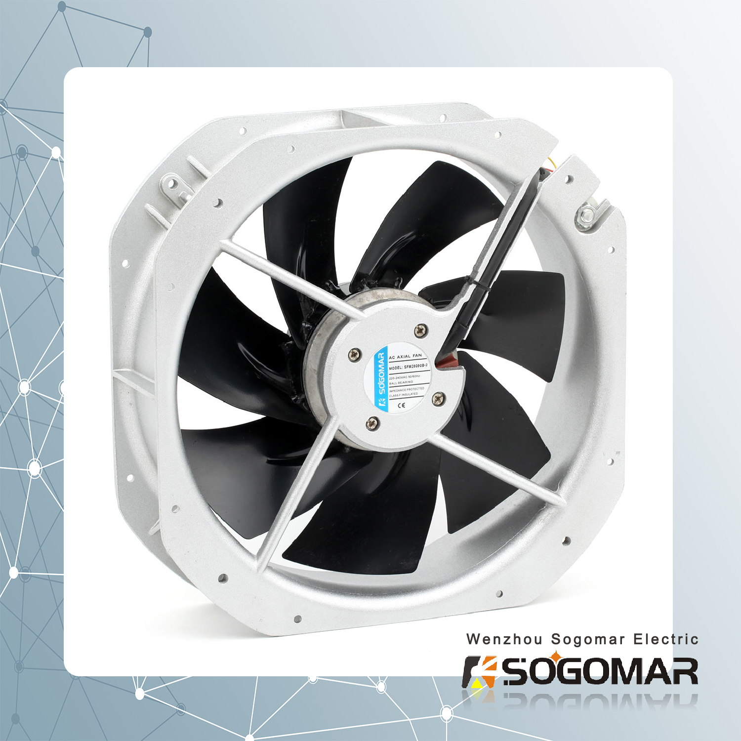 280x280x80mm axial fan with metal blades
