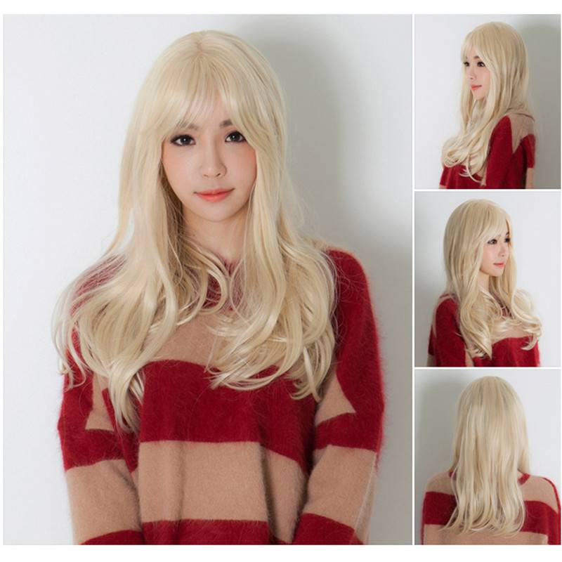 Synthetic Long harajuku blonde natural straight hair wig