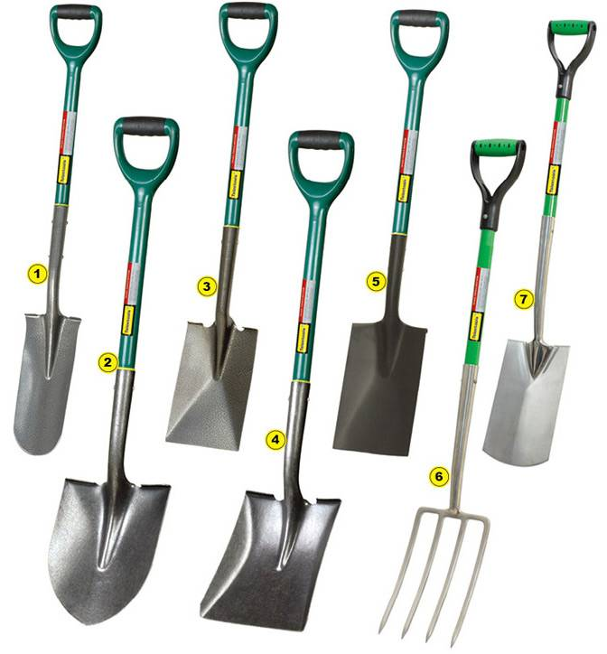 Round point shovel, square shovel, drain spade