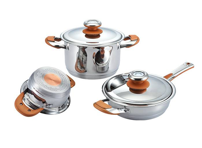 8 pcs wide edge stainless steel pot,7-layer bottom