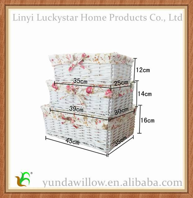 White Handamde Willow Storage Basket Wicker And Boxes