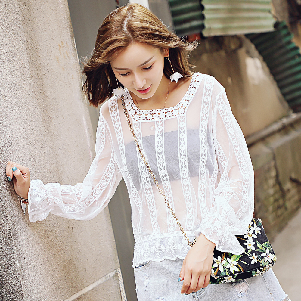Lace Blouse Long Sleeve Lace Wild Perspective Fall Watercolor Lace Wild Lady Tops
