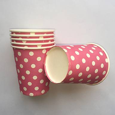 Wholesale Custom Printed Disposable Paper Cups Rose Polka Dot Paper Cups