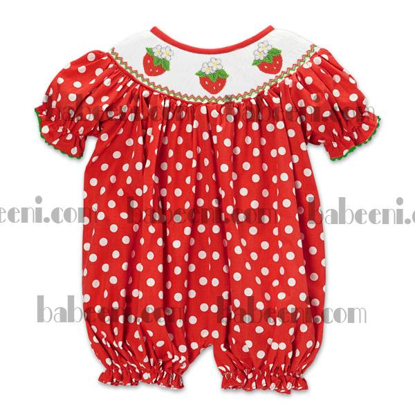 strawberry hand smocked bubble