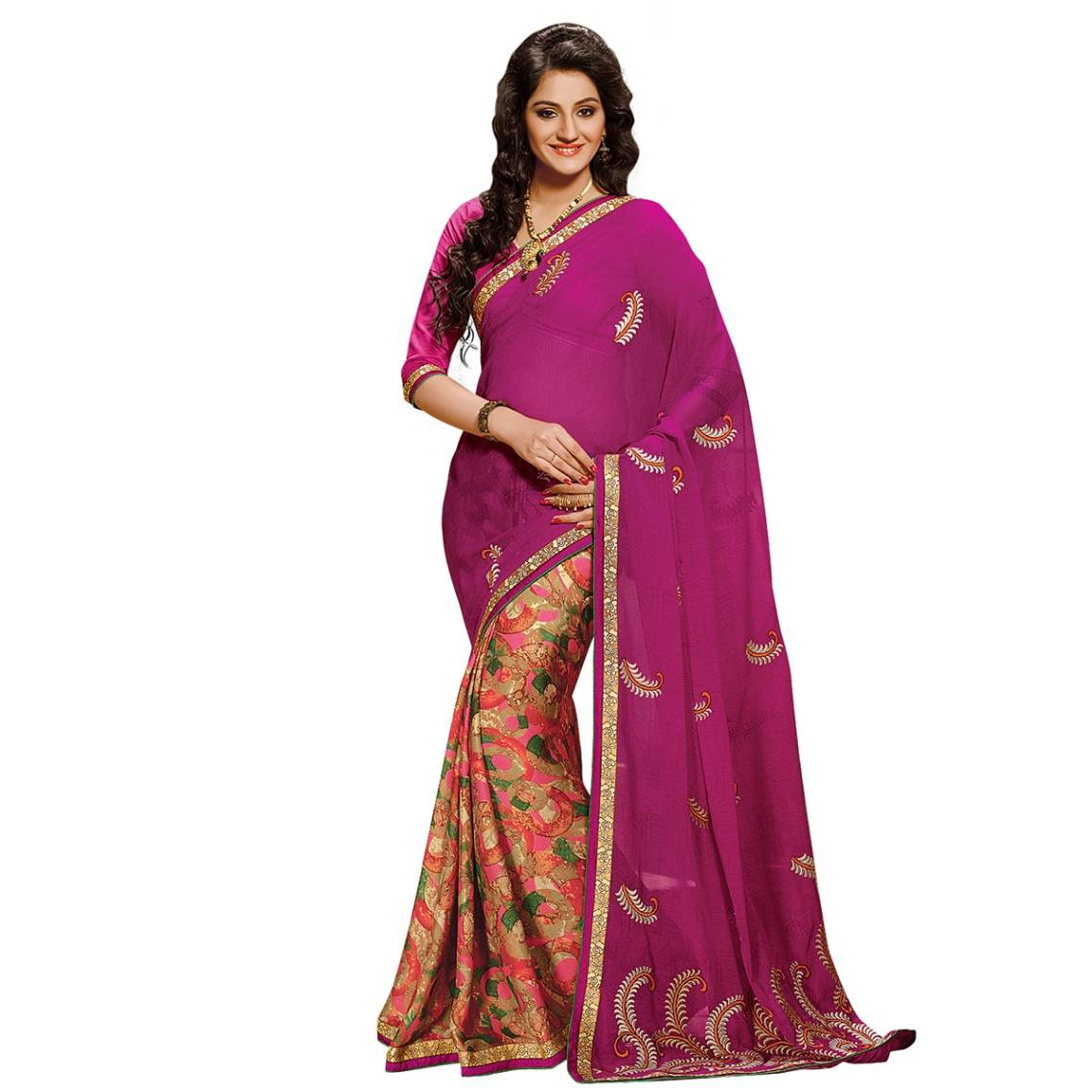 Shonaya Pink Colour Georgette Embroidered Sarees With Blouse PieceSGDN2-4866