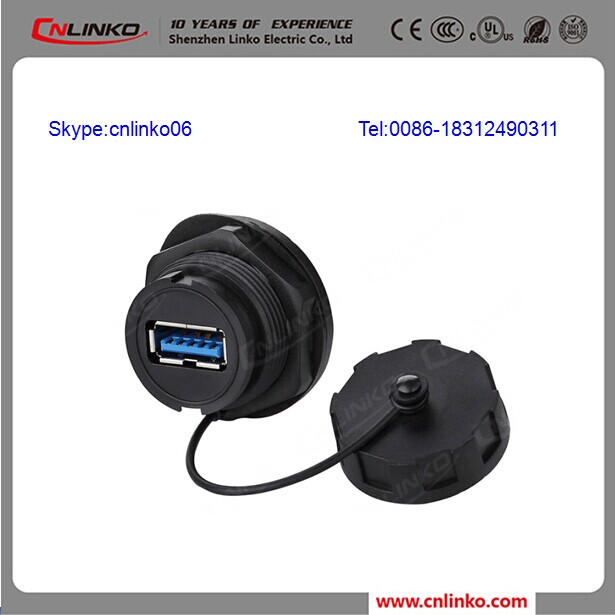 Cnlinko usb 3.0 panel mount IP67 Waterproof USB Connector 3.0 USB Connector with 20M ohm Contact Res