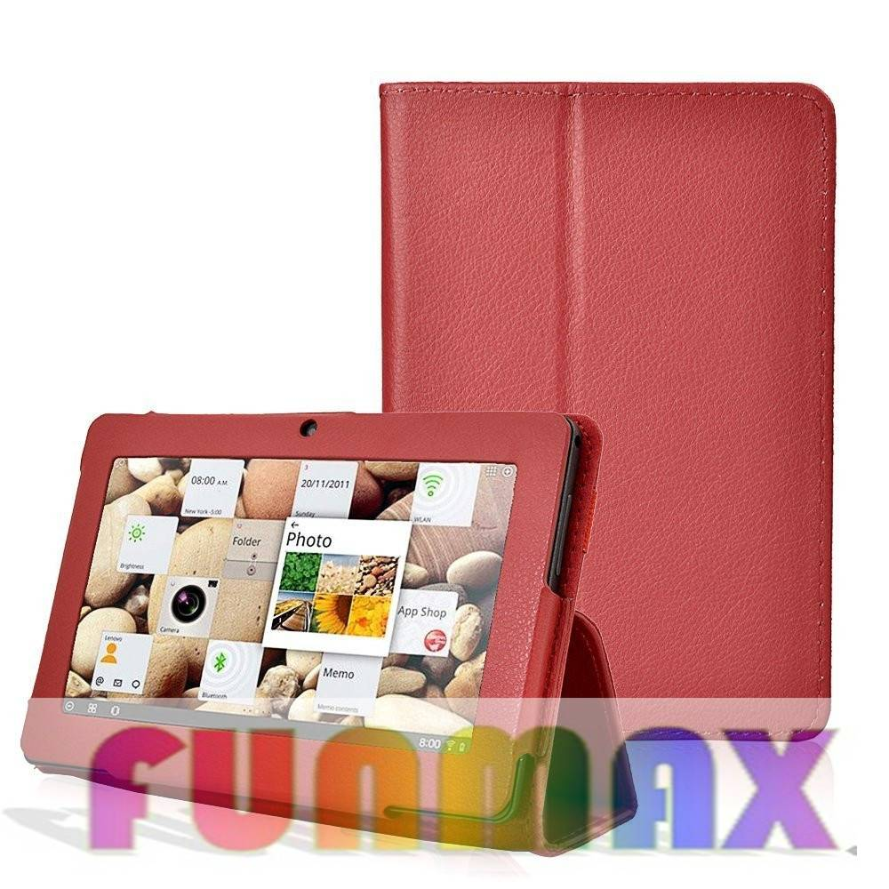 7 inch Tablet Case PU Leather Protective Back Cover Case - Fits Most 7 Inch Tablets (Red)