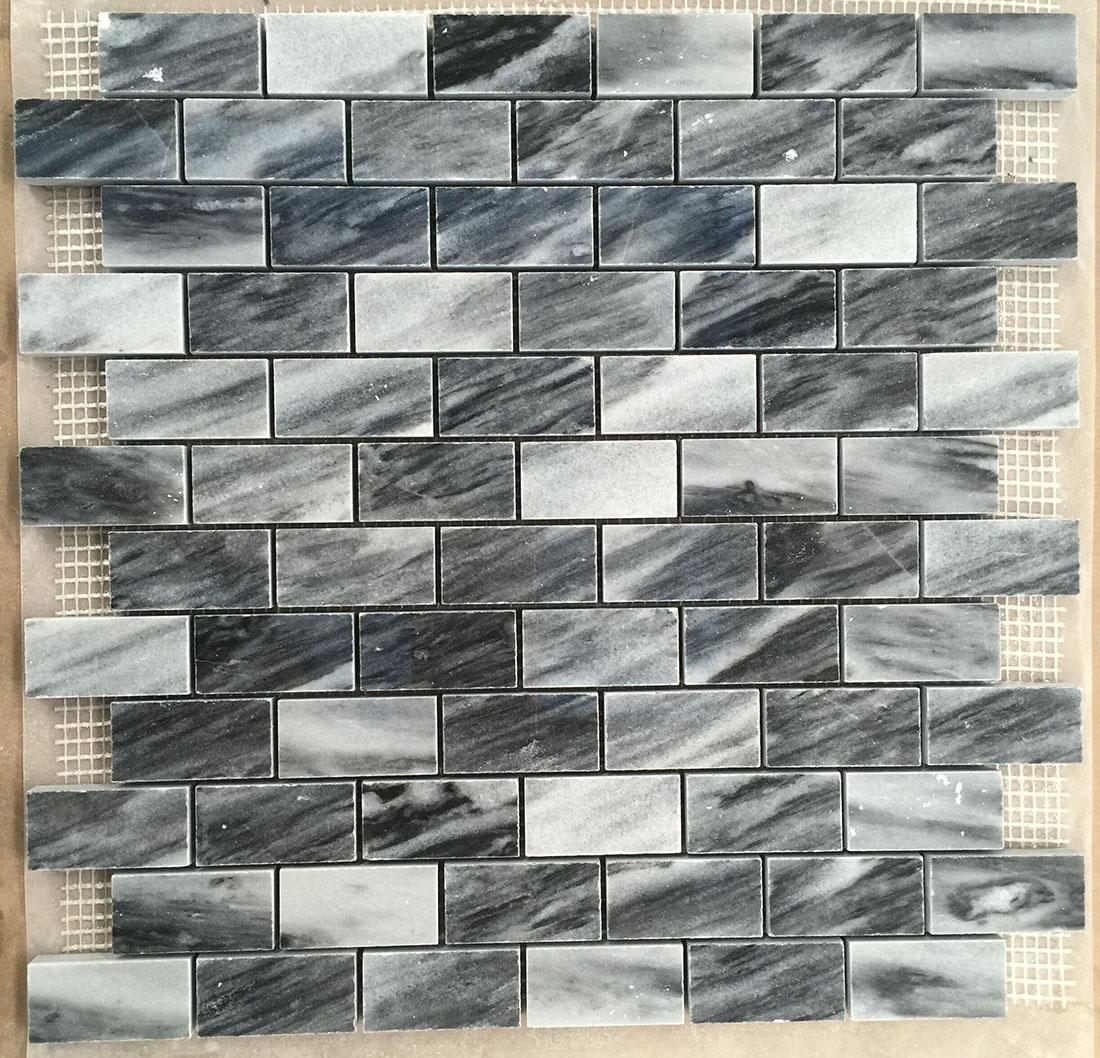 Black brick marble mosaics tiles