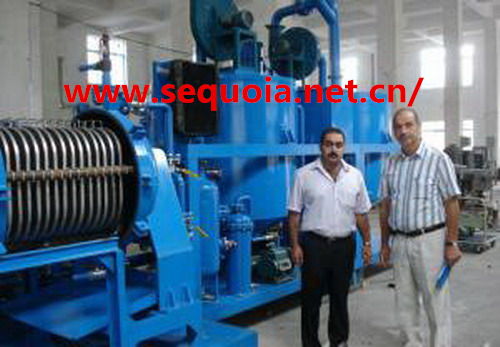 black and dirty used engine oil recycling machine