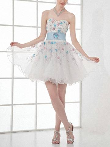 Alluring White Organza Cocktail Dress Sweetheart A Line Party Dress