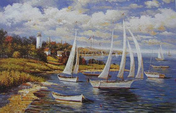 Sea/Boat Hand-Painted Oil Painting Canvas Art