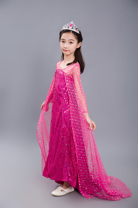Halloween Party Dress Princess Dress for Elsa Costumes with Shining Long Cape
