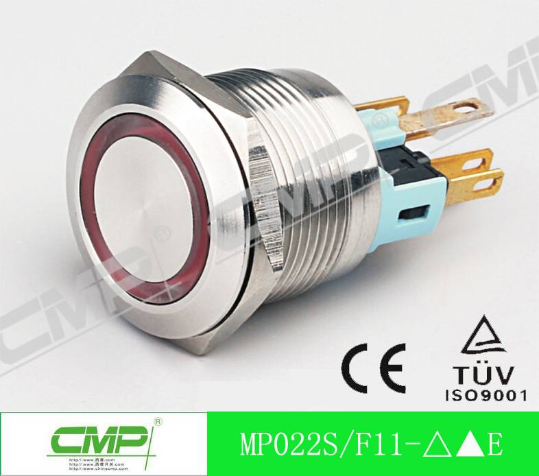 CMP dia.22mm 1NO1NC Illuminated LED Momentary Metal Push Button Switch