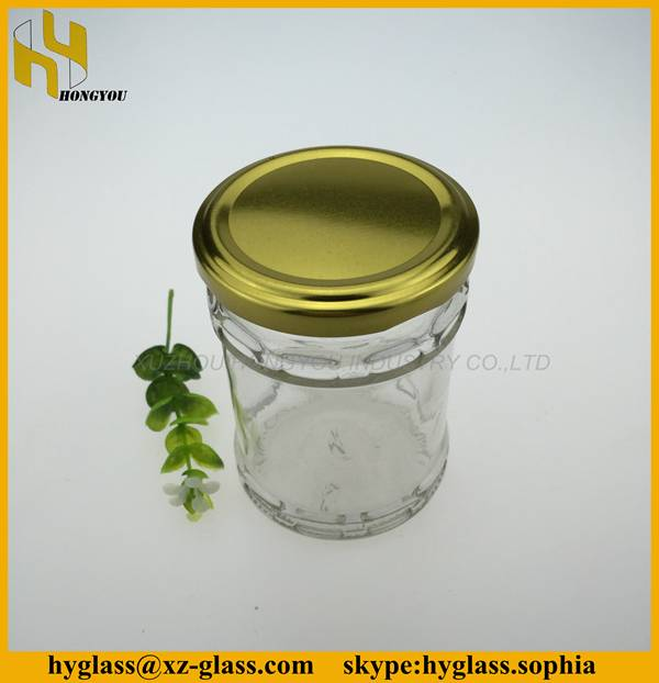 Different size round custom design high quality pickle food honey jam glass bottle wholesale