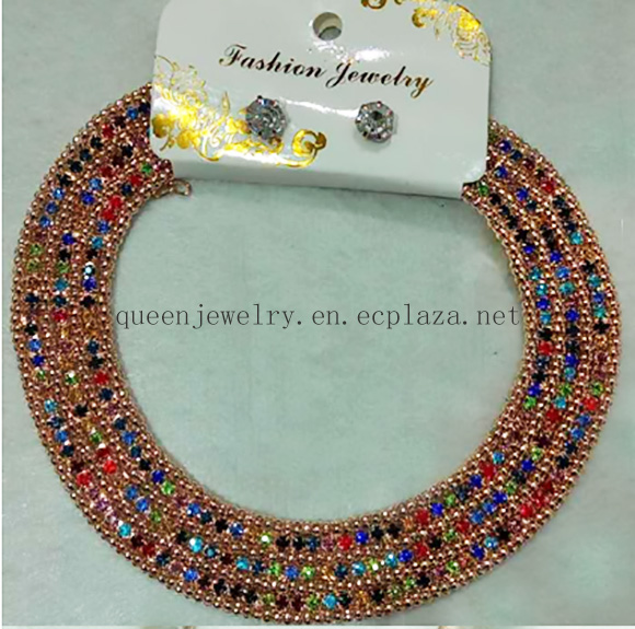 Factory Directly Bridal jewelry Set Clear colorful Rhinestone Fashion e earring Wedding necklace