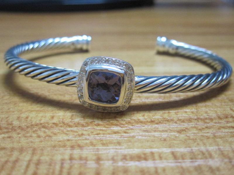 Sterling Silver Jewelry 4mm Silver Bracelet with Amethyst (B-090)