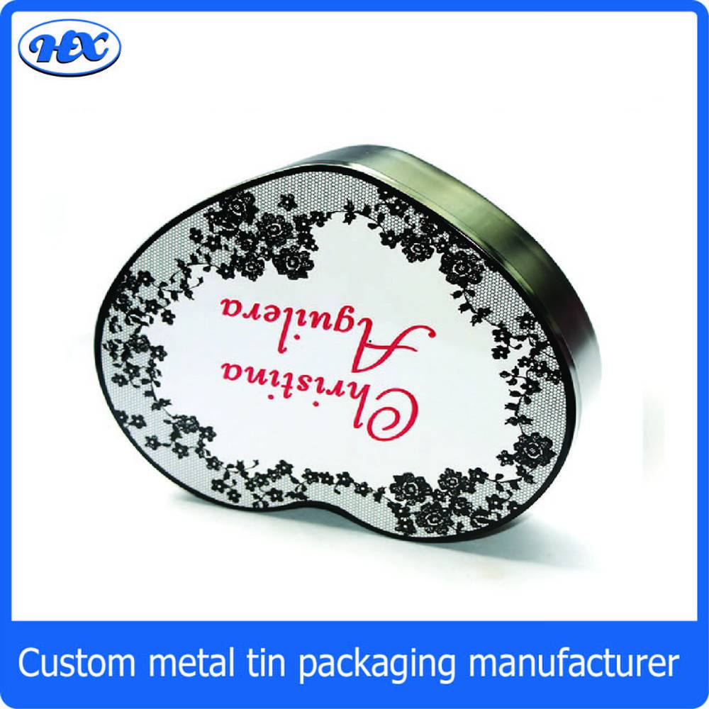 Hearted shape elegent jewelry packaging metal box/display tin box