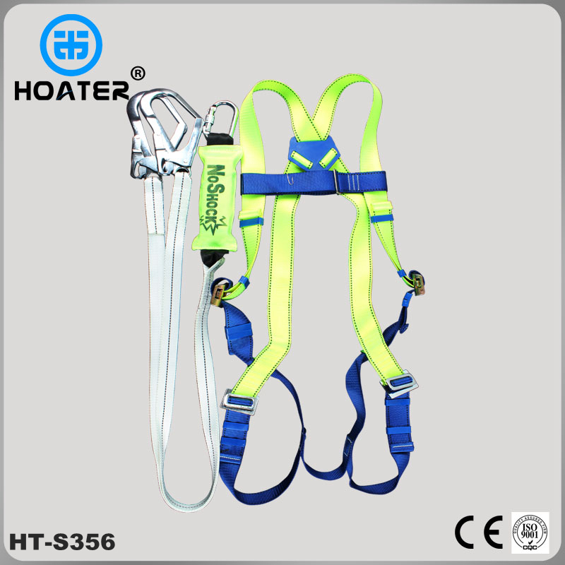 Workman safety harness with safety lanyard