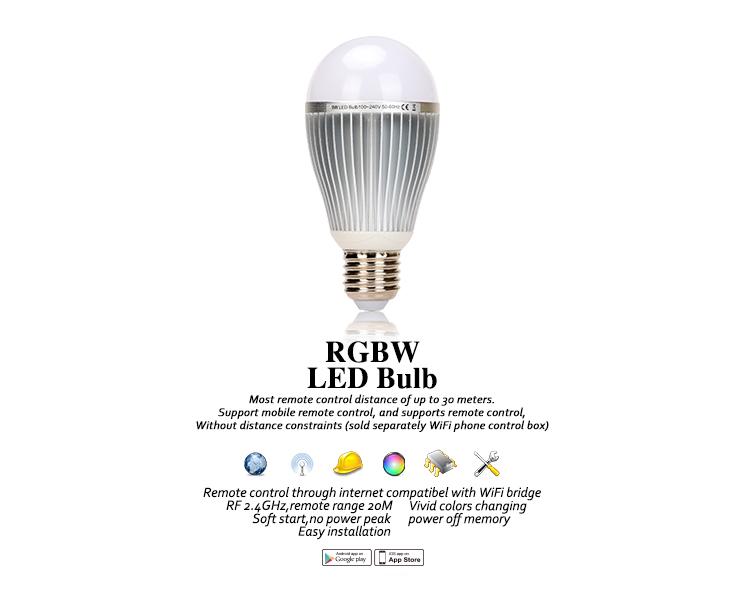 9W 2.4G RF RGBW LED Light bulb E26 E27 B22 Smart AC100-240V WIFI Bridge GLEDOPTO
