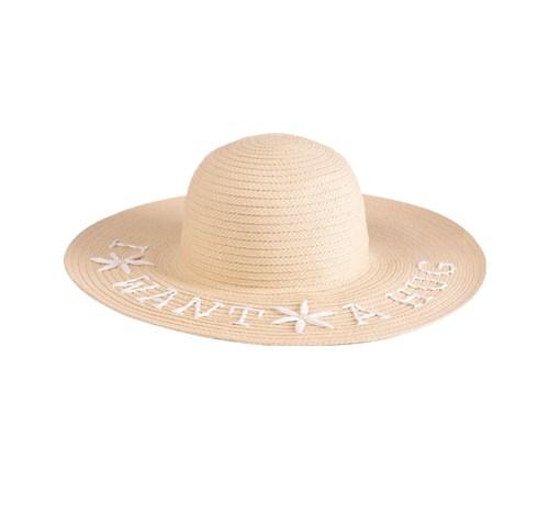 embroidered paper braid floppy hat