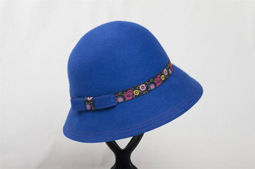 Blue Wool Felt Bucket Hat (FW003222)