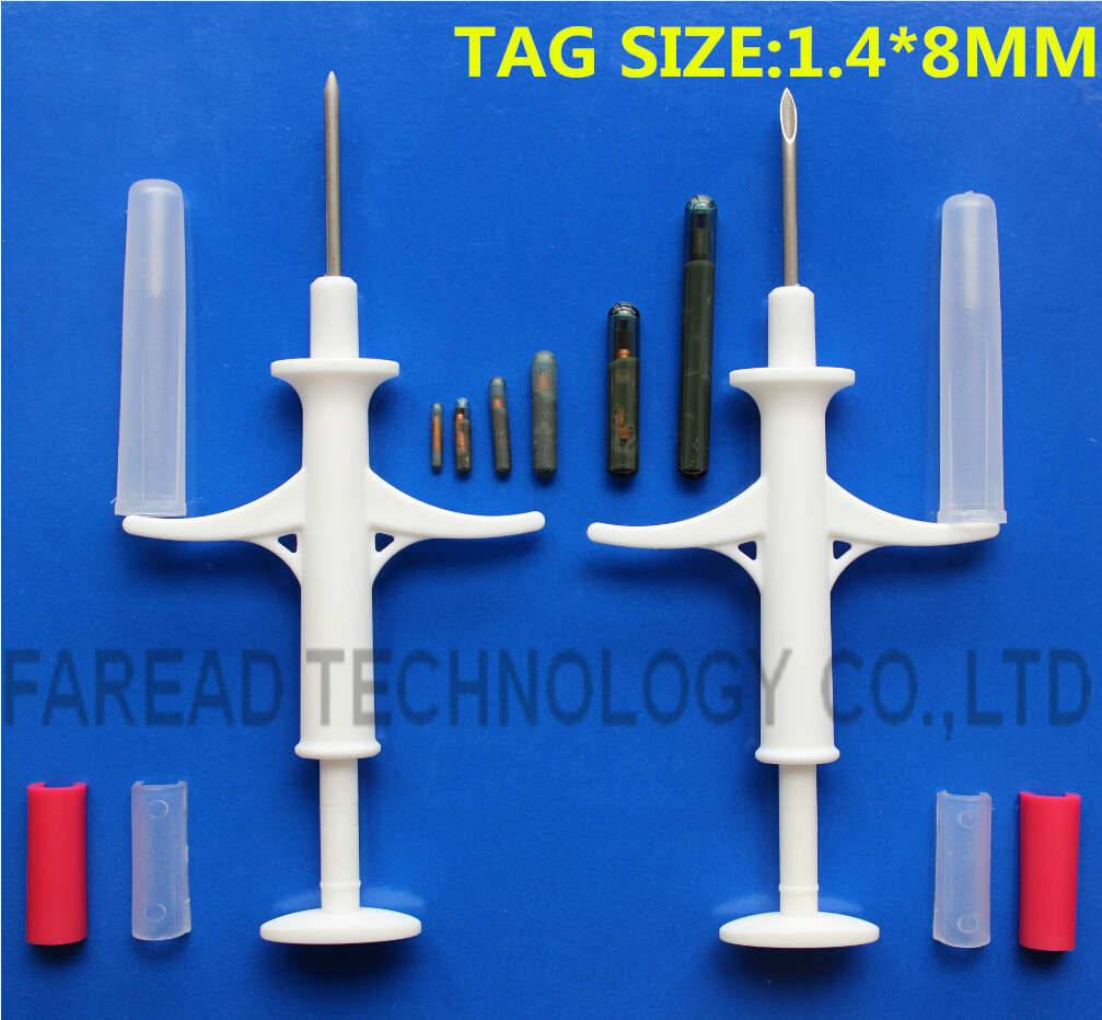RFID Animal Microchip Injector 1.4x8mm/10mm, pet microchip for dog with syringe
