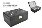 Delicate black PU jewelry box with metal lock for closure made in Shantou wholesale