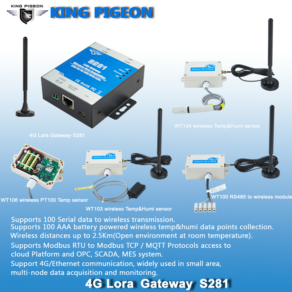 LoRa gateway wireless remote monitoring and control RF transmit RS485 GSM 3G 4G 5G ethernet to cloud
