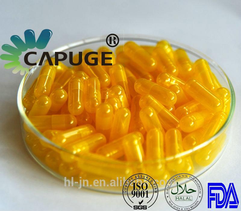 Empty Vegetarian Capsules HPMC Vegi Capsule Shells Separated Yellow translucent