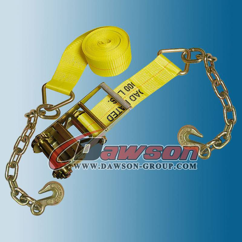 4 inch Ratchet Straps with Chain & Hook