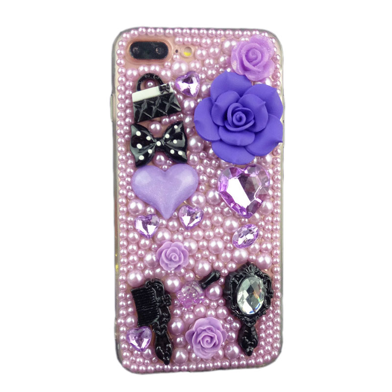 Purple Handmade Pearl Soft Cover for iPhone 7plus iPhone X/8/6s Samsung S6/S7/S8+ Cellphone Case