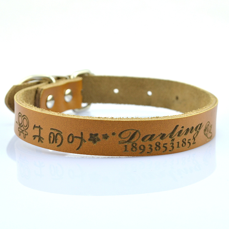 Engraving logo on Leather dog collar factory supply pet products